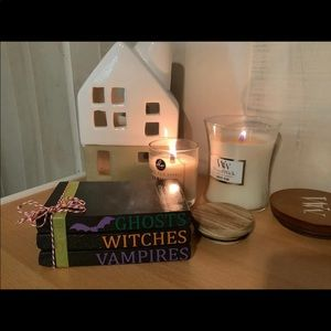 Handmade farmhouse mini wood book stack ghost
